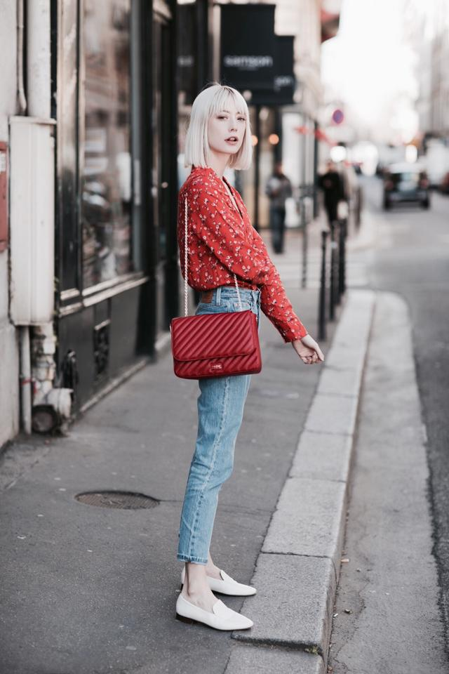 into your closet blogger blouse top jeans shoes bag red bag loafers red shirt