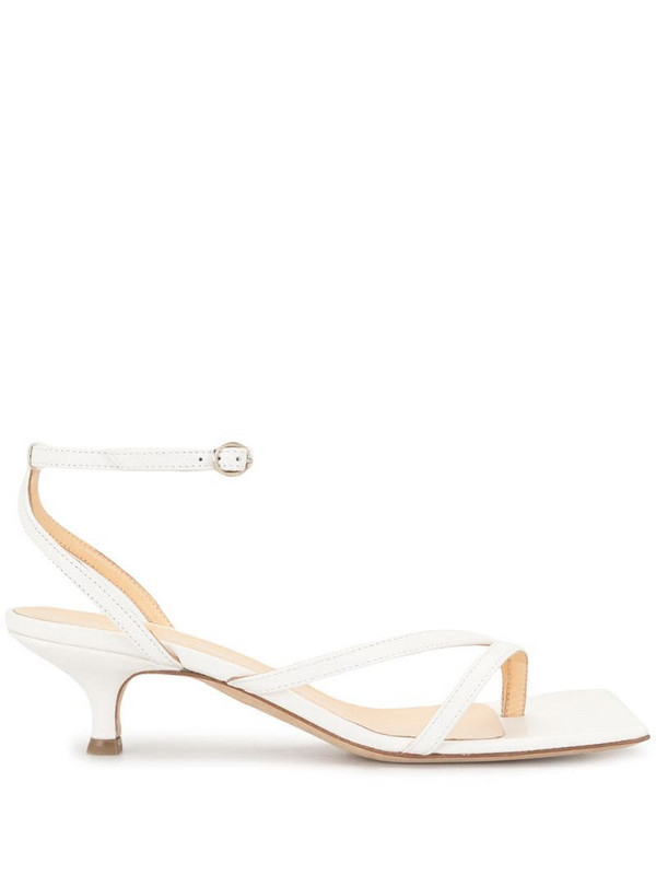 A.W.A.K.E. Mode kitten heel strappy sandals in white
