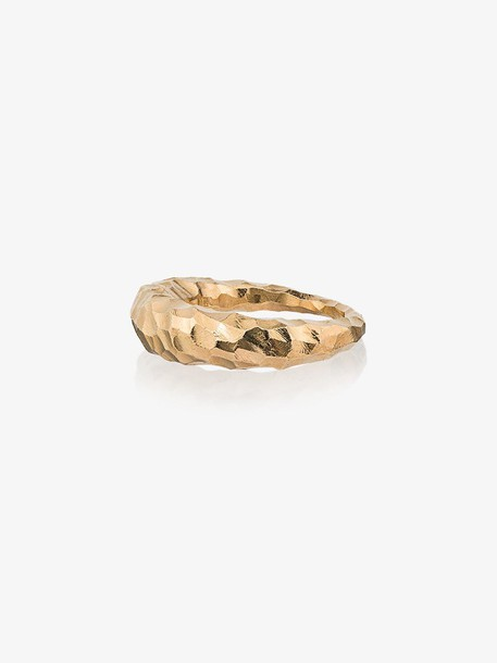 All Blues Yellow Gold Curved Fat Snake Ring