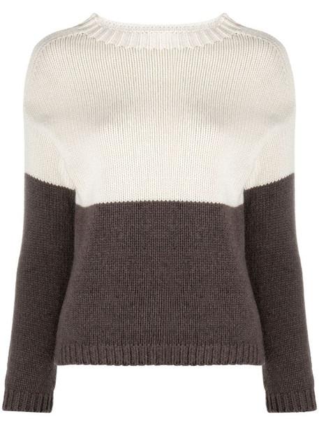 Aragona panelled cashmere jumper in brown