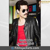 coat,movie,celebrity,rami malek,freddie mercury,leather jacket,jacket,fashion,style,outfit,bohemian rhapsody