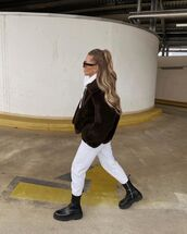 jacket,faux fur jacket,black boots,black and white pants,hoodie
