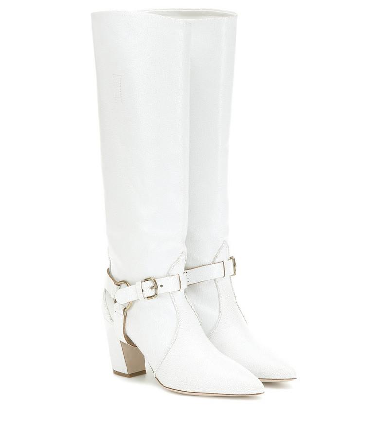 Miu Miu Leather knee-high boots in white