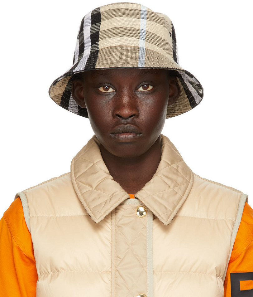 Burberry Beige Check Jacquard Bucket Hat in sand