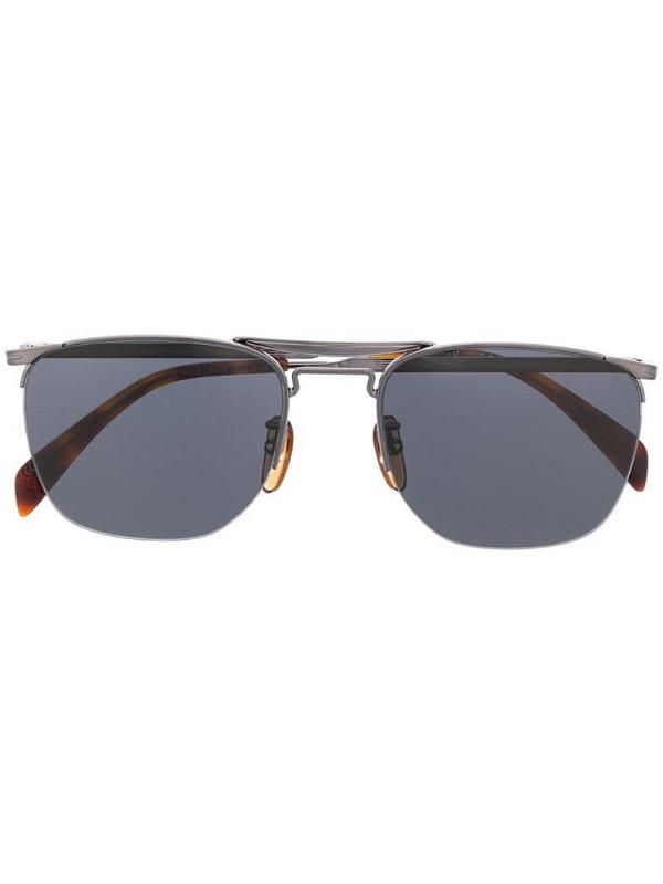 Eyewear by David Beckham aviator half-frame sunglasses in silver