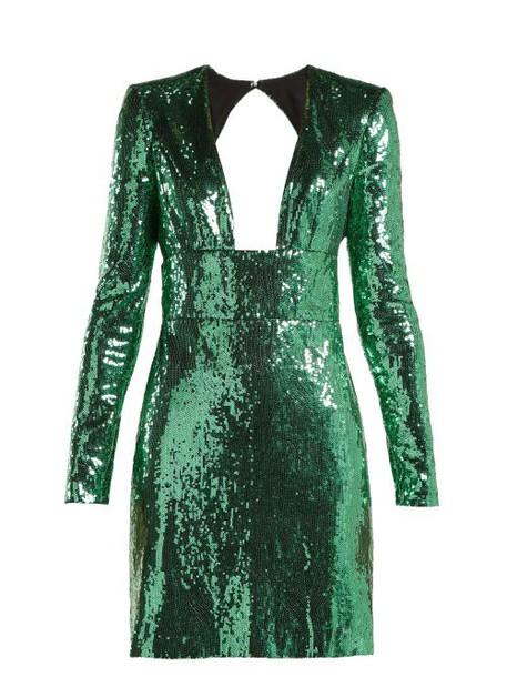 Dundas - Cut Out Back Sequined Dress - Womens - Green