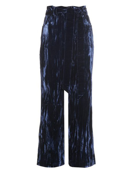 Wales Bonner - Prosper Crushed Velvet Flared Trousers - Womens - Navy