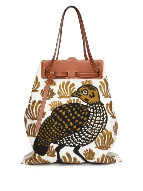 Loewe - Lazo Bird-embroidered Canvas Tote Bag - Womens - White Multi