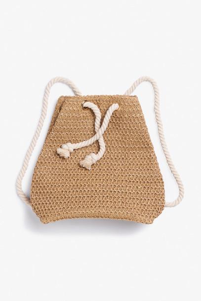 bag drawstring backpack raffia