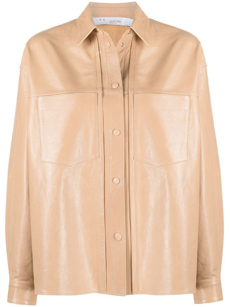IRO buttoned-up leather shirt jacket in neutrals
