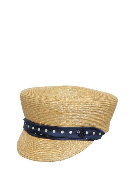 MAISON MICHEL Abby Raffia & Silk Hat in navy / natural