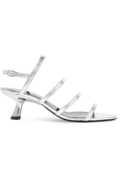 SIMON MILLER - Strappy Tee Metallic Leather Slingback Sandals - Silver