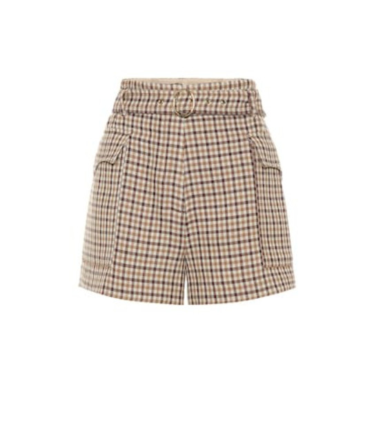 Nanushka Lucas high-rise wool shorts in brown