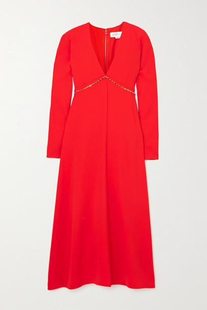VICTORIA BECKHAM - Chain-embellished Open-back Crepe Midi Dress - Red