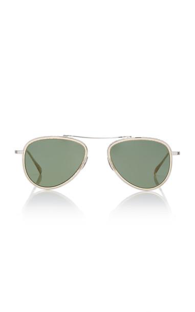 Mr. Leight Ichi Metal Aviator Sunglasses in silver
