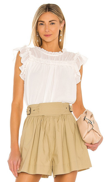 1. STATE Babydoll Blouse in White in ecru