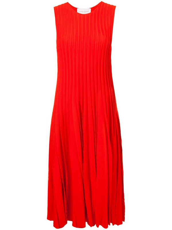 Carolina Herrera pleated tank dress in red