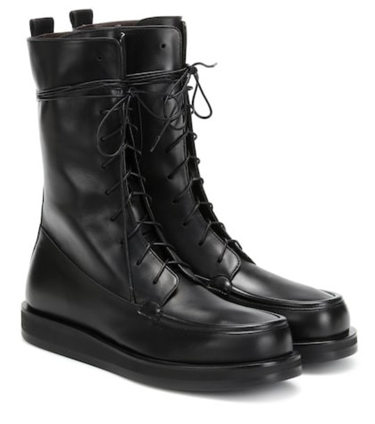 The Row Patty leather ankle boots in black