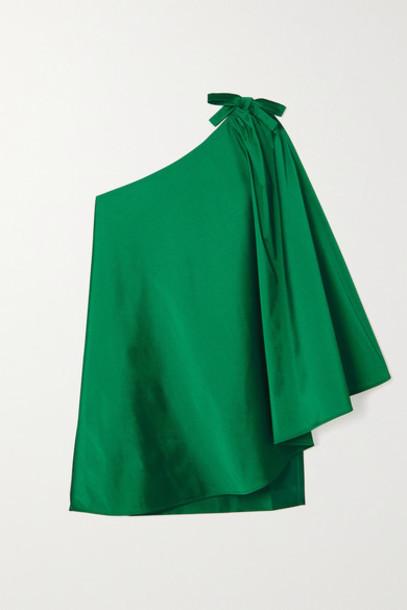 BERNADETTE - Benedicte One-shoulder Cape-effect Taffeta Mini Dress - Green