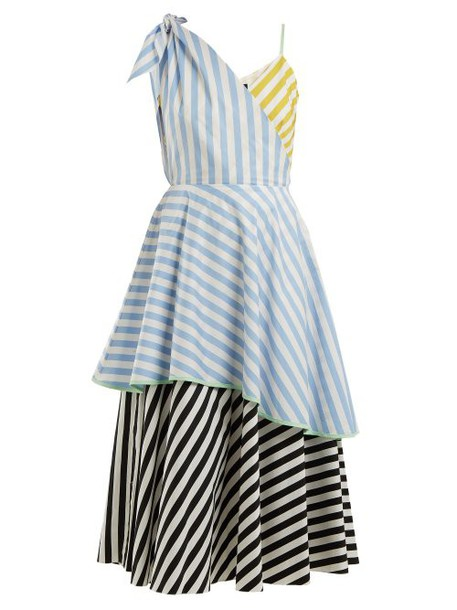Anna October - Contrast Striped Cotton Dress - Womens - Blue Stripe