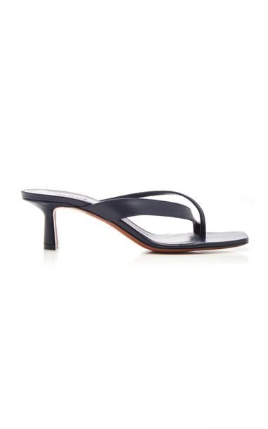 Neous Leather Thong Sandals in navy