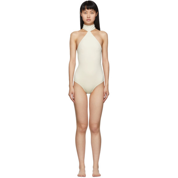 Rudi Gernreich Off-White Choker One-Piece Swimsuit