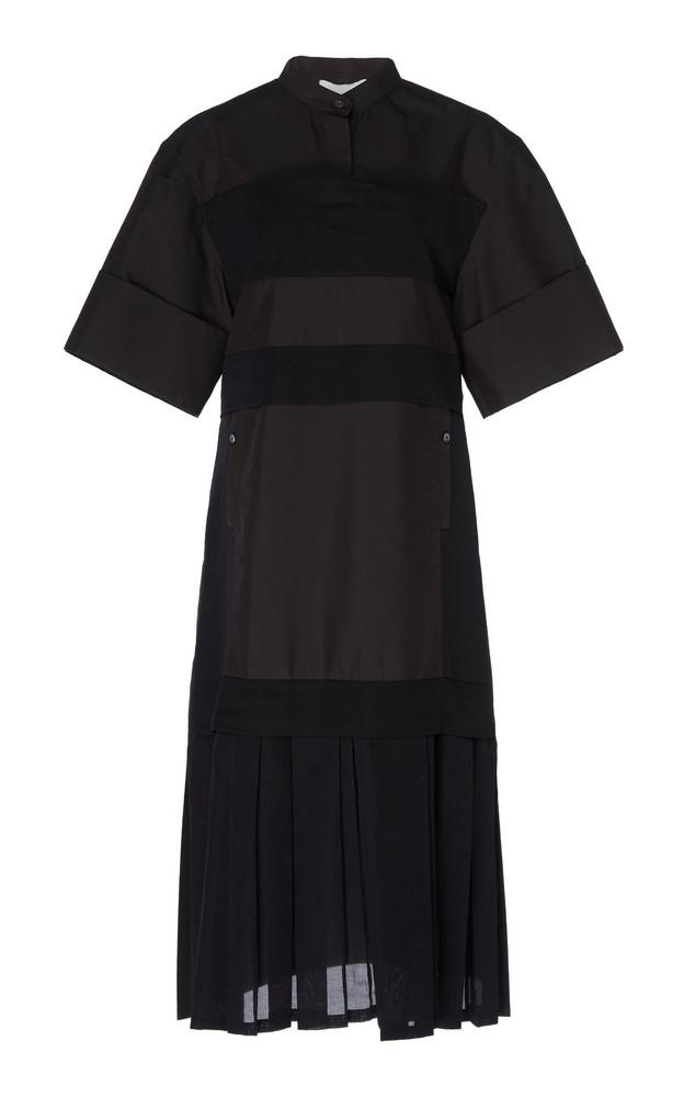 3.1 Phillip Lim Short Sleeve Multimedia Dress Sleeve With Pleated Hem in black