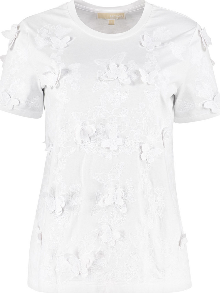 Michael Kors Embroidered Cotton T-shirt in white