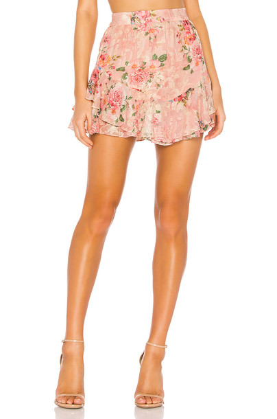 HEMANT AND NANDITA Blush Georgette Cross Stitch Skirt in pink