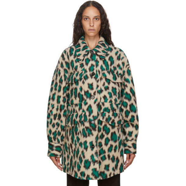MM6 Maison Margiela Beige and Green Leopard Wool Oversize Coat
