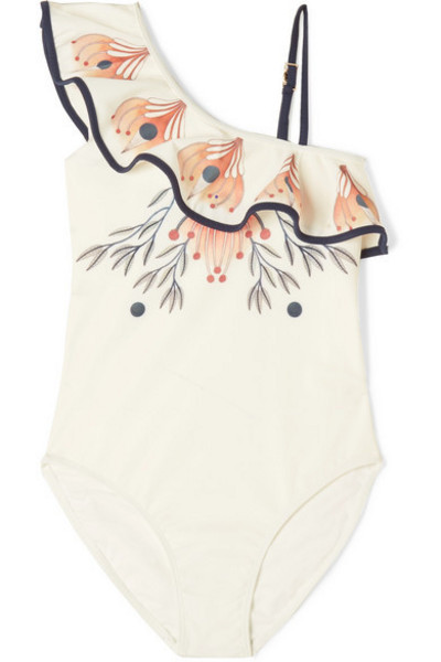 Chloé Kids - Ages 6 - 12 One-shoulder Printed Swimsuit in white