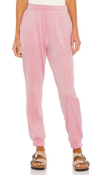 1. STATE Velour Pant in Blush in pink