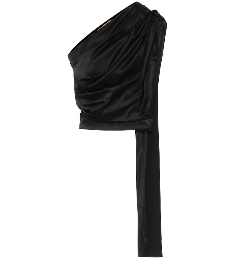Matériel Tbilisi One-shoulder stretch-silk satin top in black