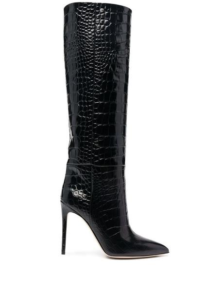 Paris Texas embossed crocodile effect boots in black