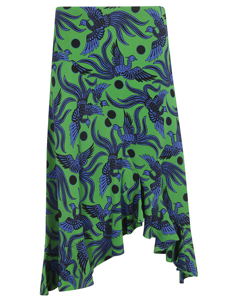 Kenzo Ruffled Birds Skirt in green