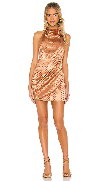 MAJORELLE Yasmin Mini Dress in Metallic Copper