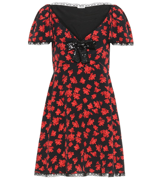 Miu Miu Floral silk minidress in black