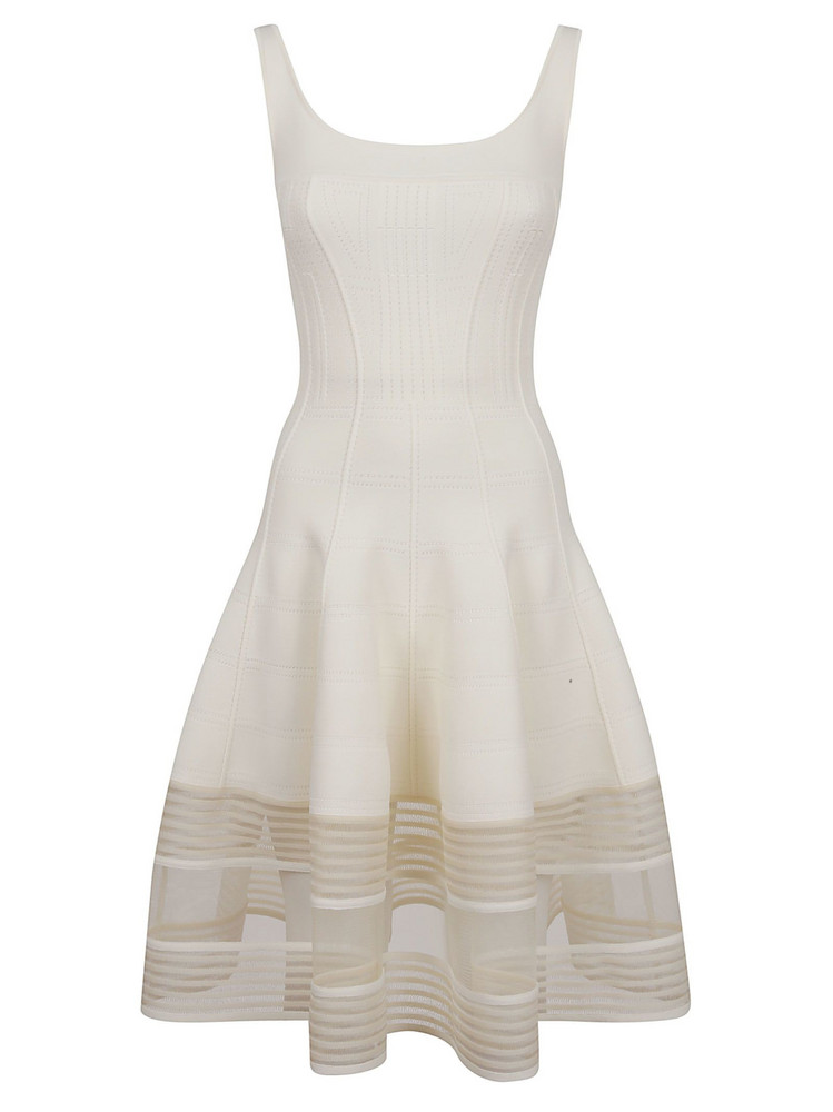 Alexander Mcqueen Flared Knitted Dress in ivory