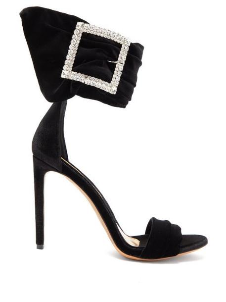 Alexandre Vauthier - Yasmin Crystal Embellished Velvet Sandals - Womens - Black