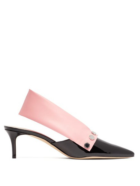 Christopher Kane - Latex Strap Patent Leather Slingback Pumps - Womens - Black Pink