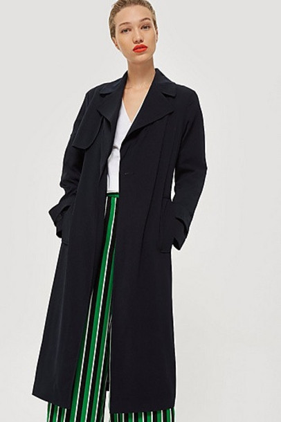 Topshop Silky Crepe Duster Coat - Navy Blue