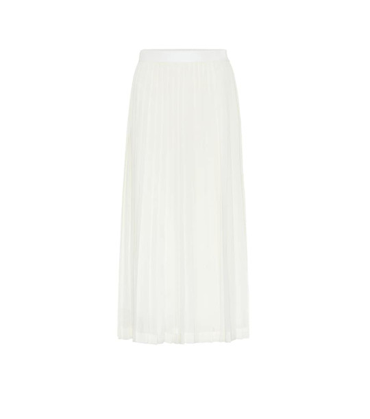 The Row Lawrence pleated crêpe midi skirt in white