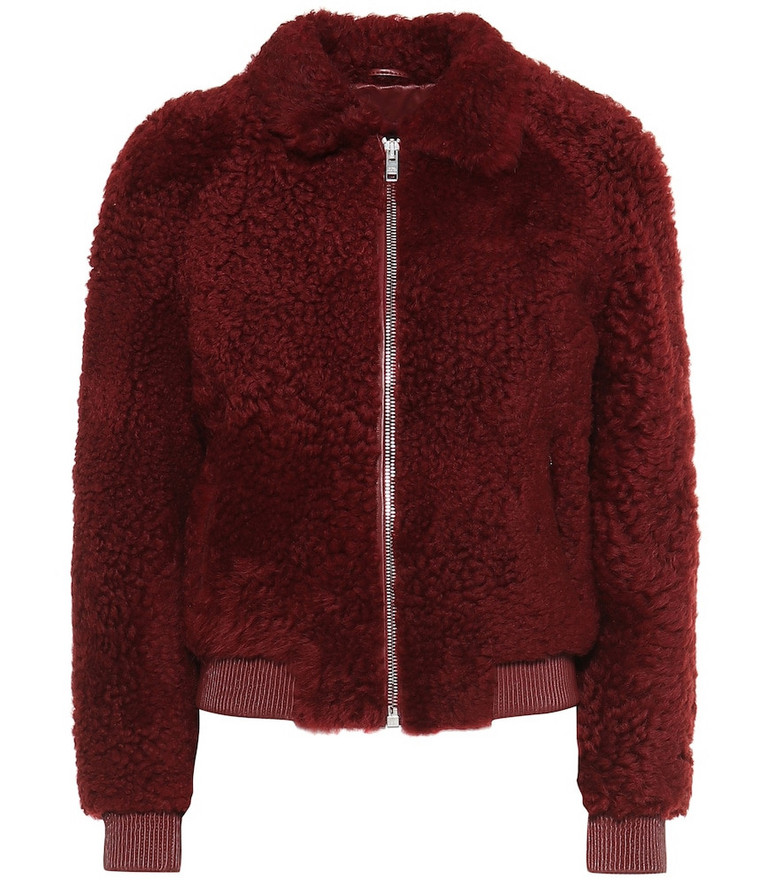 Isabel Marant Salvia shearling bomber jacket in red