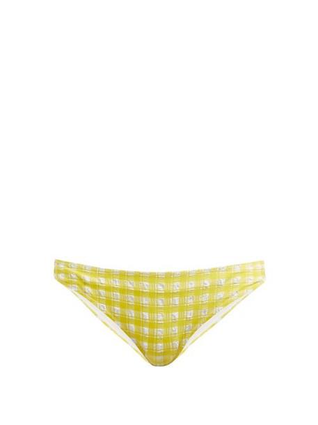 88b9937603f Ganni - Mahogany Checked Bikini Briefs - Womens - Yellow - Wheretoget