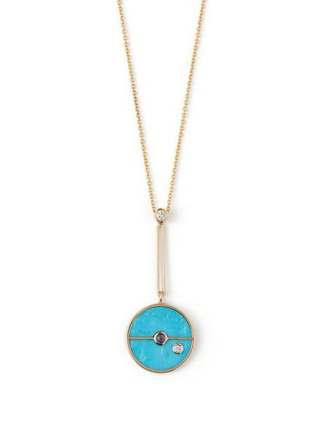Retrouvai - Compass 18kt Gold & Diamond Necklace - Womens - Blue