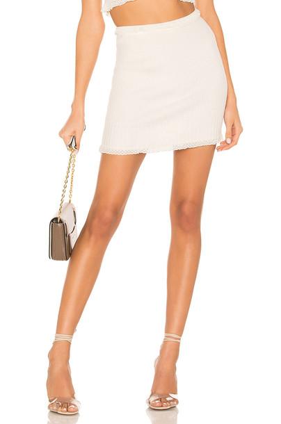For Love & Lemons Britney Ruffle Mini Skirt in white