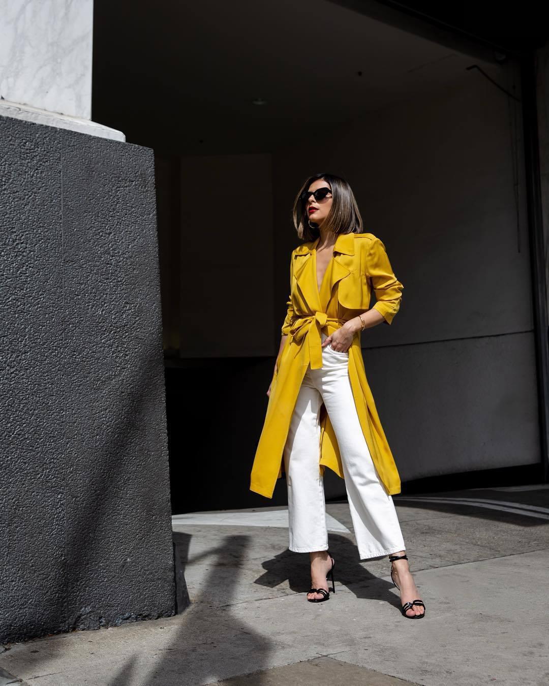 coat trench coat yellow coat black sandals white pants wide-leg pants