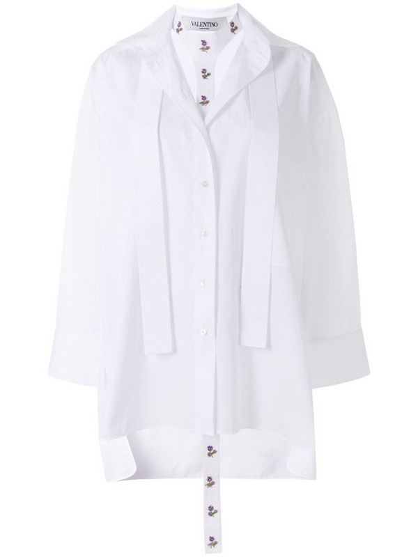 Valentino layered floral embroidered blouse in white