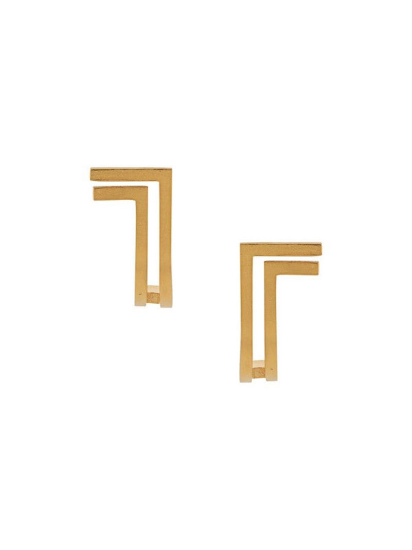 Hsu Jewellery double line curved earrings in gold