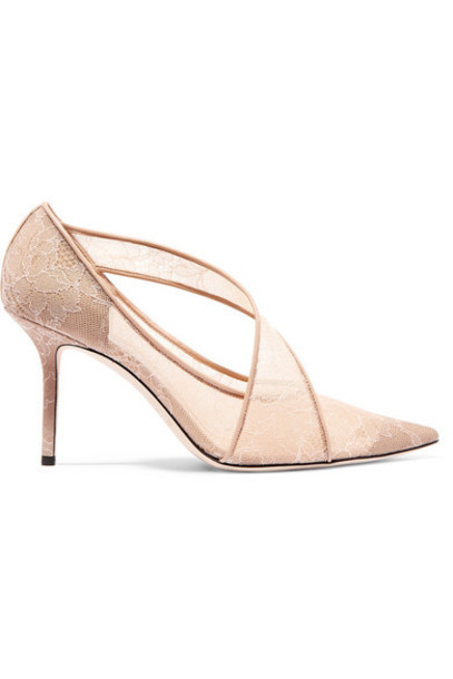 Jimmy Choo - Haylene 85 Leather-trimmed Corded Lace Pumps - Sand
